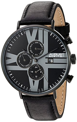 August-Steiner-Mens-Black-Case-with-Silver-Tone-Accented-Black-Dial-on-Genuine-Leather-Black-Strap-Watch-AS8212BK