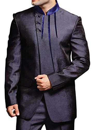 INMONARCH Mens Slate Gray 2 pc Jodhpuri Suit Trimming Work JO243R42 42 Regular Navy blue by INMONARCH