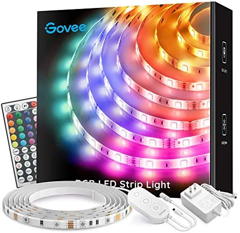 Led Strip Lights, Govee 16.4Ft Waterproof RGB Light Strip Kits with Remote for Room, Bedroom, TV, Kitchen, Desk, Color Changing Led Strip SMD5050 with 3M Adhesive and Clips, 12V Power Supply 1