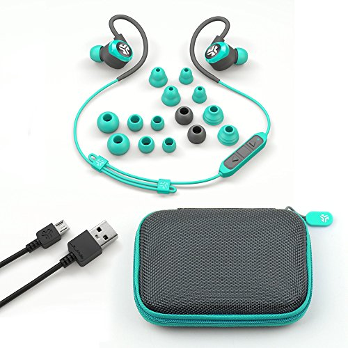 JLab Audio Epic2 Bluetooth 4.0 Wireless Sport Earbuds - Teal - GUARANTEED fitness, waterproof IPX5 rated, pristine high-performance 8mm sound drivers, 12 hr play time w/ microphone (Certified Refurbis by JLAB (Image #3)