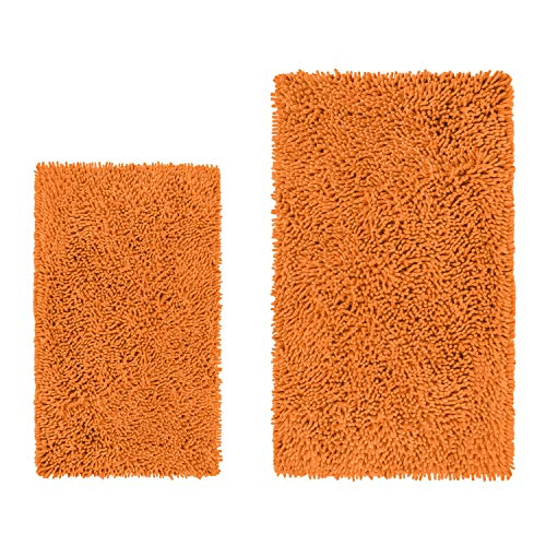 "LuxUrux Bathroom Rug Mat Set-Extra-Soft Plush Bath Shower Bathroom Rug,1"" Chenille Microfiber Material, Super Absorbent. Machine Wash & Dry (Rectangular Set, Orange)"