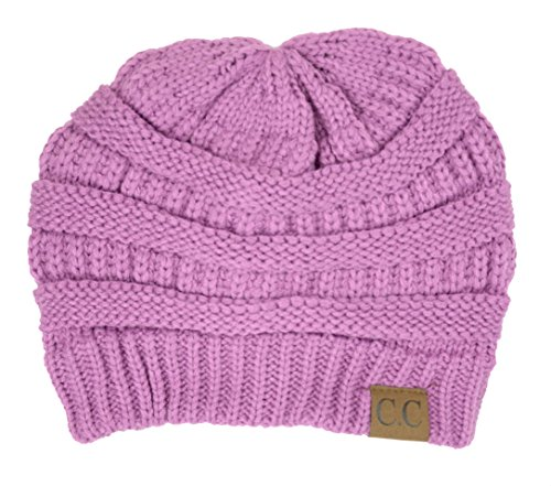 Plum Feathers Soft Stretch Chunky Cable Knit Slouchy Beanie Hat - Lv Hat
