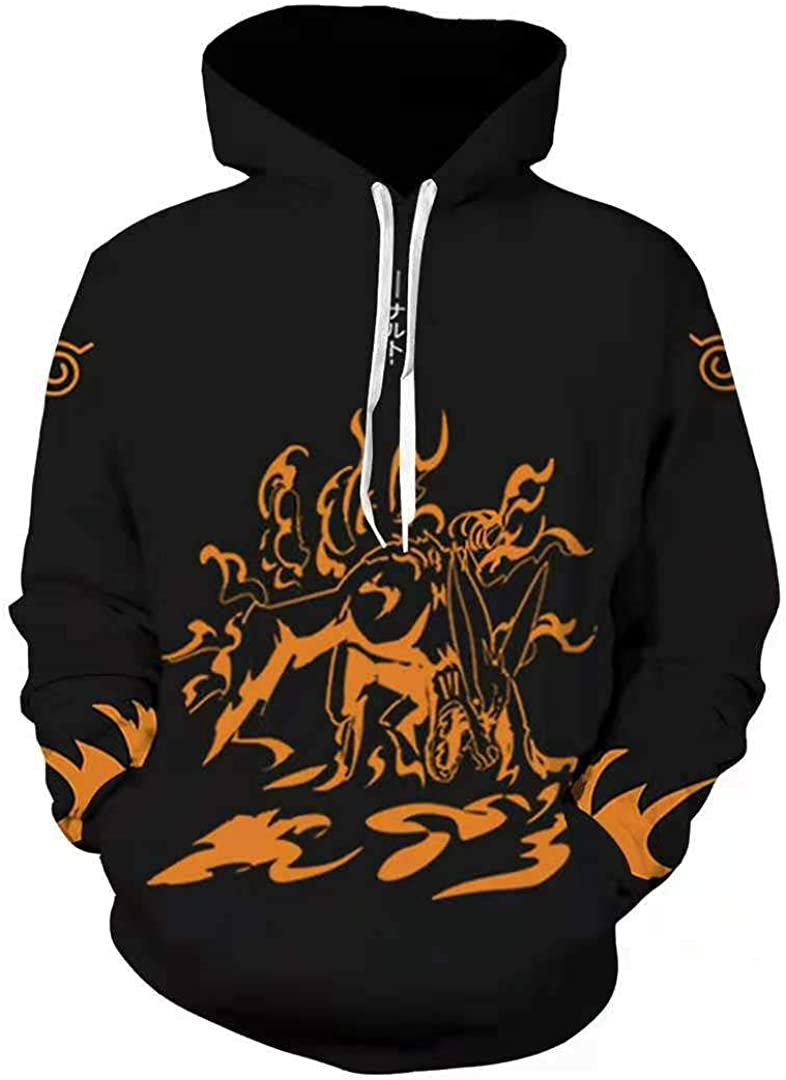 only beautiful Men Women Naruto Anime 3D Print Pullover Hoodie Long Sleeve Cosplay Sweatshirt with Pocket