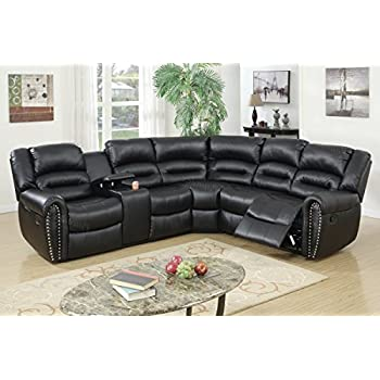 3Pcs Black Bonded Leather Reclining Sectional Sofa Set with Three-tiered Pillow Style Back Supports  sc 1 st  Amazon.com & Amazon.com: 3 pc Wolcott Contemporary black Bonded Leather ... islam-shia.org
