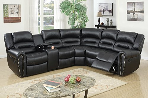 3Pcs Black Bonded Leather Reclining Sectional Sofa Set with Three-tiered Pillow Style Back Supports