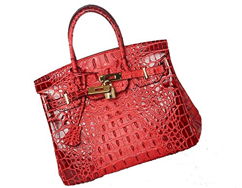 Vintage Alligator Birkin Style Bag Purse Tote Handbag (Red, 35cm - L) by PRISTINE&BB (Image #10)