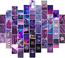 Msaaex Wall Collage Kit Aesthetic Pictures Bedroom Decor for Teen Girls Purple & Pink Posters with Double Sided Tape for...