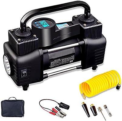 YLG Compresor De Aire, Inflador Portátil con Pantalla Digital, Luz LED, 12V,Cable De 3M,Dos Métodos De Conexión