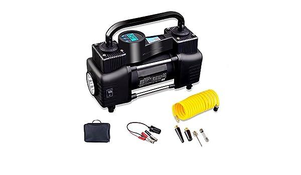 YLG Compresor De Aire, Inflador Portátil con Pantalla Digital, Luz LED, 12V,Cable De 3M,Dos Métodos De Conexión: Amazon.es: Deportes y aire libre