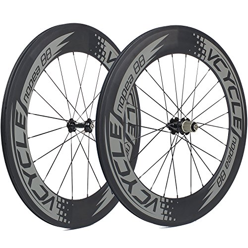 VCYCLE Nopea 700C Carbon Racing Road Bicyle Wheelset 88mm Clincher 23mm Width Shimano or Sram 8/9/10/11 (88mm Light)