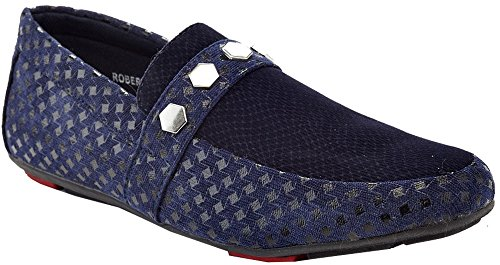 Franco Vanucci Mens Embroidered Formal Dress Shoe Night Club Velvet Smoking Slippers Suede Slip-On Textured Detail Buckle Driving Loafers Navy (Roberto-28) hvD2Kme7S