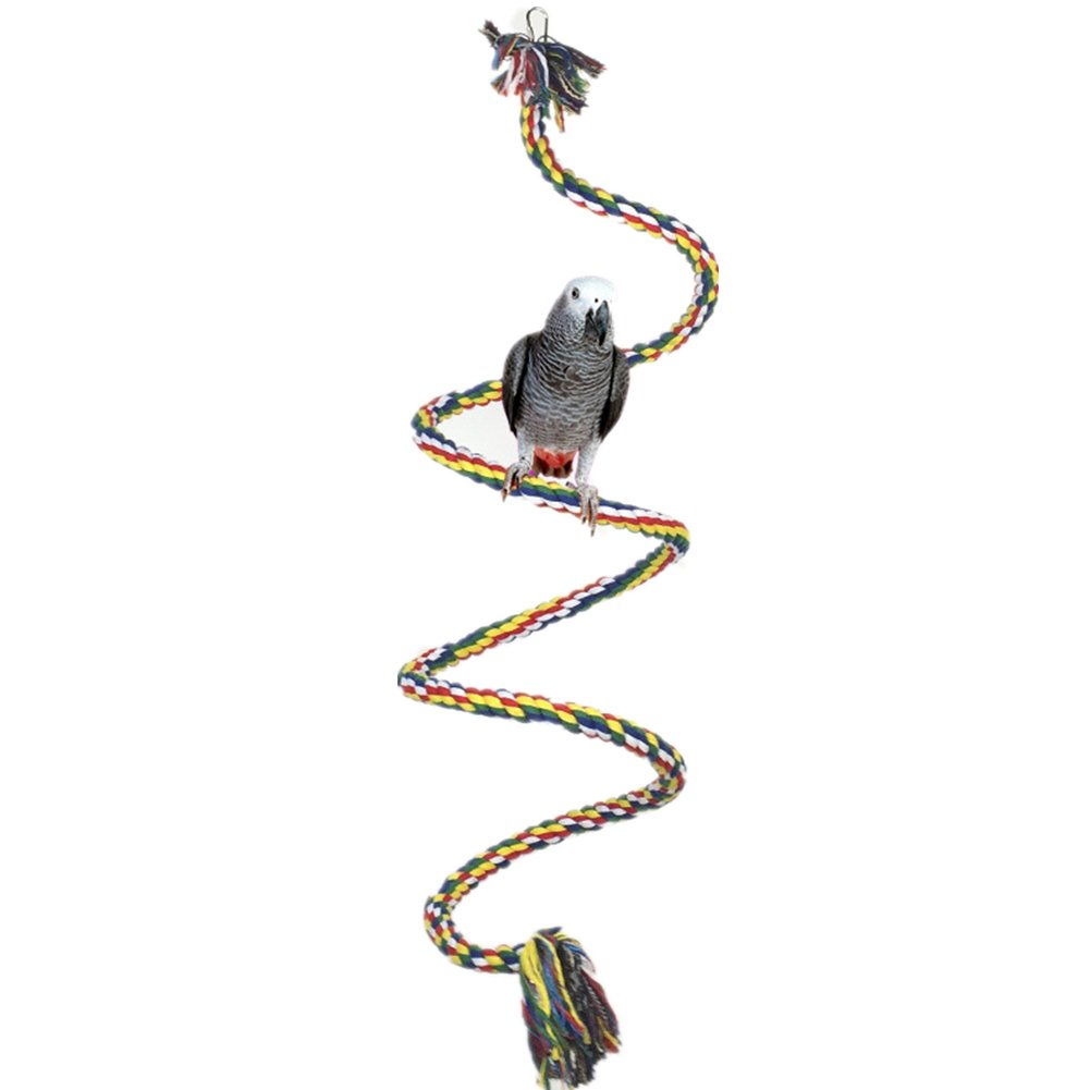 Bird Perch - Citmage Thick Cotton Rope Bungee Bird Swing Climbing Toys with Bell and Hook Bite,Climb,Chew,Swing for Parrots,Macaws,Parakeets,African Gray(Colorful,L)