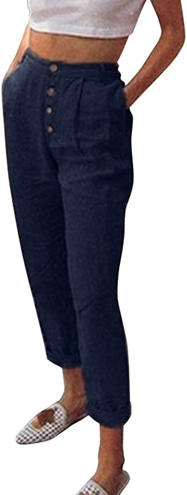 OEAK Damen 7//8 L/änge High Waist Sommerhose Leicht Leinenhose mit Gummizug Freizeithose Strandhose Beil/äufig Weich Haremshose Yogahose Hose
