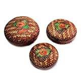 NOVICA Floral Bamboo Storage Container, Red 'Colors Of Joy' (set of 3)