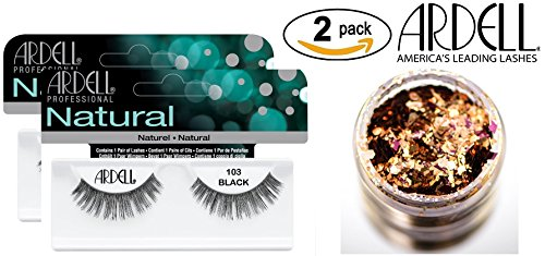 Ardell Professional NATURAL Lashes (2-PACK with bonus Skin/Hair Glitter) (103 Black (2-PACK))