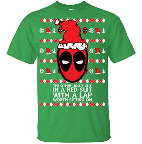 Adult Deadpool The Other Jolly Guy In A Red Suit T Shirt Ugly Christmas Sweater Small Kelly Green