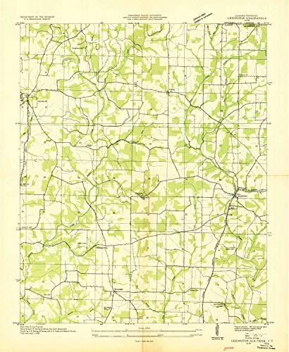 YellowMaps Lexington AL topo map, 1:24000 Scale, 7.5 X 7.5 Minute, Historical, 1936, 26.7 x 21.9 in - Paper -