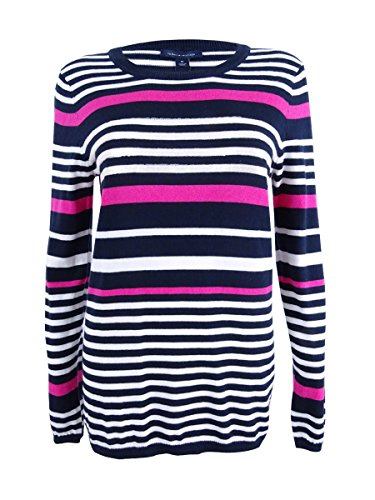 Tommy Hilfiger Women's Cotton Sequined-Stripe Sweater (L, Cerise Combo)