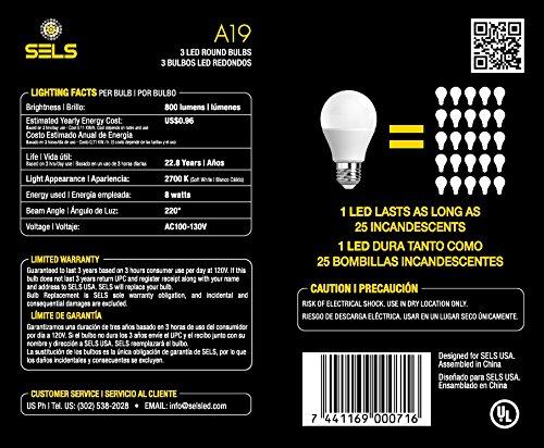 SELS LED A19 60-Watt Equivalent LED Light Bulb, E26 Standard Base, Soft White (6 Pack)  - - Amazon.com