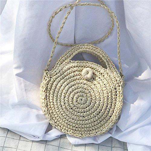 Beach woven Shoulder Style Bag Round Handwoven A Bag Rattan Package Hand Pure Retro Oshide WxqP6ZFx