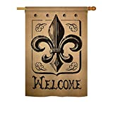 Welcome Fleur De Lys – Spring Mardi Gras Decoration – 28″ x 40″ Impressions House Flag by Ornament Collection – US made