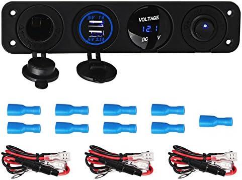 REFURBISHHOUSE 4穴 パネルスイッチベース デュアルUSB車の充電器 電圧計 シガーライターソケットスイッチ 車トラックのボートアクセサリー12~24V