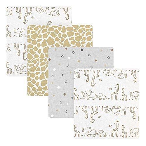 Koala Baby 4 Pack Flannel Receiving Blankets - Grey Giraffe