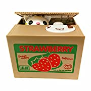 Amazon Lightning Deal 100% claimed: Mischief Saving Box Stealing Coin Piggy Bank, White Kitty Cat Strawberry
