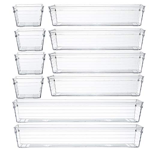 Backerysupply Clear Plastic Drawer Organizer Tray for Vanity Cabinet (Set of 10),Storage Tray for Makeup, Kitchen Utensils, Jewelries, and Gadgets (Drawer Organizers Bathroom)