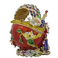 Peacock Jewelry Enamel Trinket Box