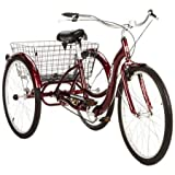 26' Schwinn Meridian Adult Tricycle with Rear Folding Basket, Cherry