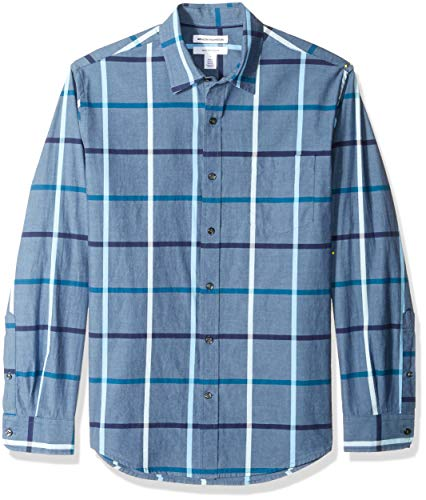 Amazon Essentials Men's Regular-Fit Long-Sleeve Casual Poplin Shirt, Denim, ()