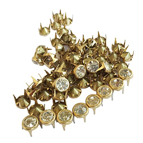 - Dovewill 50 Pieces/Lots Fashion 6/7/8/10mm to Choose Clawed Rhinestone Round Studs Decorative Rivets DIY Rivet Fit Jeans Garment Bags Shoes Crafts - Gold, 6mm