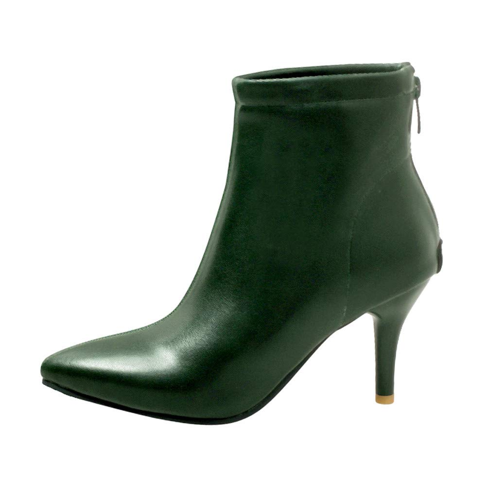 LONGDAY ⭐ Women's Stiletto Heel Pointed Toe Chelsea Booties Stretch Leather Ankle Boots Thin Heels Zipper Daily Wear Green by LONGDAY-Sandals & Sneakers