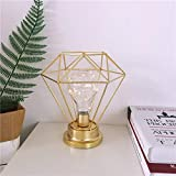 Bulb Table Lamp,MUEQU Nordic Style Bedside lamp Battery Powered Iron Desk Lamp Creative Night Light Decorative Lighting for Bedroom,Hotel (Gold)