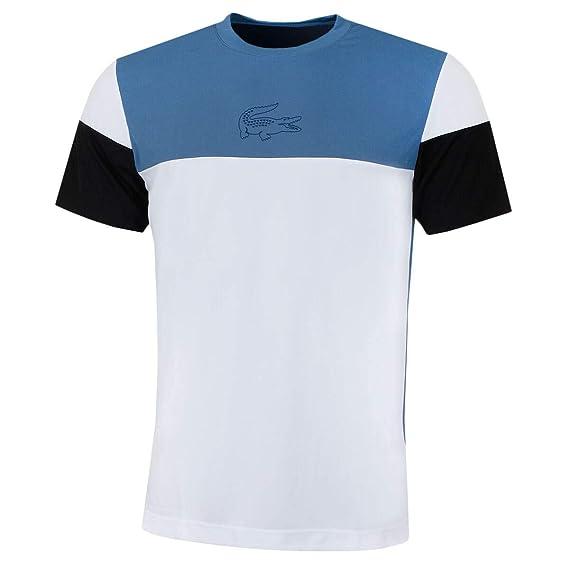 134593d1 Lacoste Mens Tennis Pique Block T-Shirt - Neottia/White-Black - M