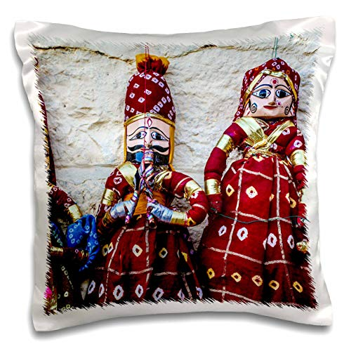 3dRose Danita Delimont - India - Jaisalmer, Rajasthan, India. Mughal paper mache dolls and puppets. - 16x16 inch Pillow Case ()