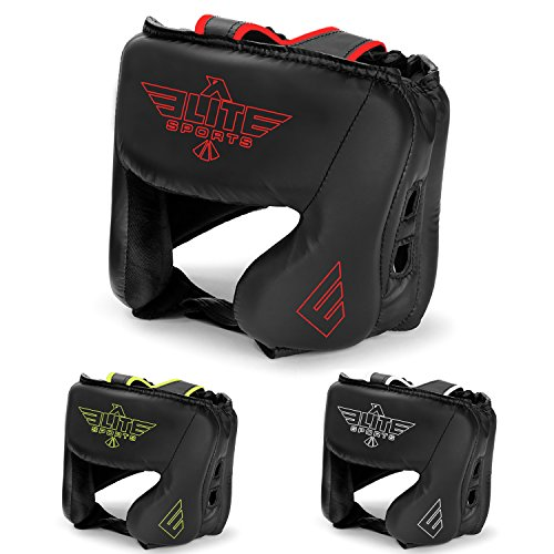 NEW ITEM Elite Sports Boxing Head Guard, Sparring Kickboxing, MMA, Muay Thai Headgear Kick Brace Head Protection (Red)