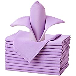 VEEYOO Oversized 20x20 Solid Polyester Cloth Napkins for Wedding Party Restaurant Dinner Washable Easy Care Set of 12, Lavender