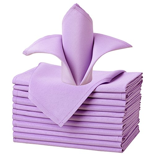 Lavender Cloths (VEEYOO Oversized 17x17 Solid Polyester Cloth Napkins for Wedding Party Restaurant Dinner Washable Set of 12, Lavender)