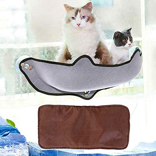 LAYOPO 14 in 1 Cat Window Mounted Bed,Indoor Pet Kitty Window Sill Perch Hammock Resting Seat Lounger,with 3 Suction Cups and Mat,Hanging Space ...