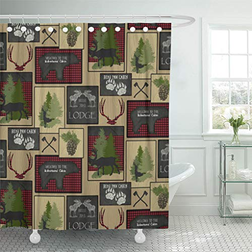 Semtomn Shower Curtain Axe Lumberjack Mountain Bear Cabin Personalized Buffalo Plaid Silhouette 66