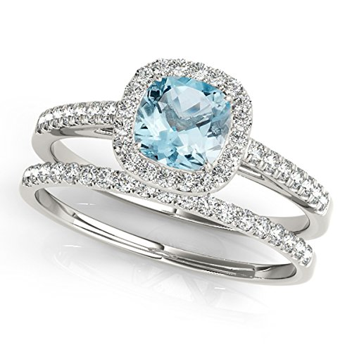 1.20 Ct. Ttw Cushion Shape Aquamarine Bridal Set In 10k White Gold