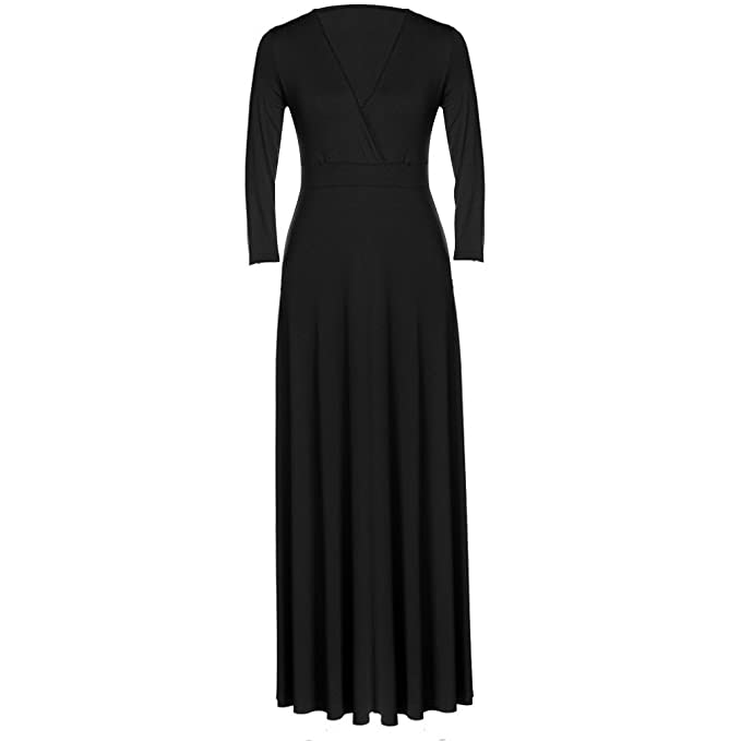0c15bf51b982 East Castle Women's Long Sleeve V-Neck Vintage Casual Cocktail Dress W-288  Black