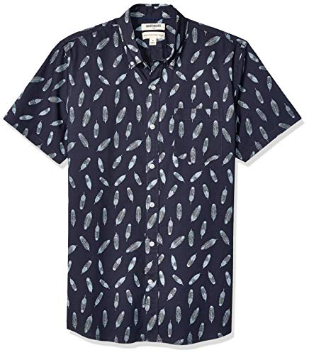- Goodthreads Men's Standard-Fit Short-Sleeve Printed Poplin Shirt, Navy Feather, XX-Large