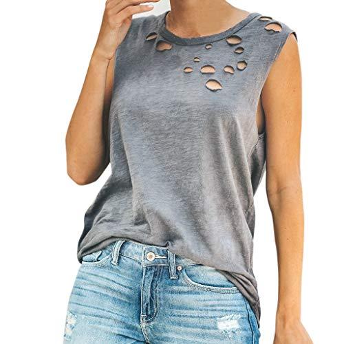 Shisay Women Casual O-Neck Holes T-Shirt Sleeveless Loose Tank Teens Tops Cover Ups Gray