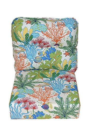 Indoor Outdoor Deep Seating Chair Cushion Set - Seat & Corded Back Pillow w/ Buttons - Splish Spash Tropical Coral Reef, Choose Size (SEAT CUSHION - 25