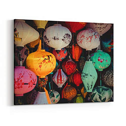 Rosenberry Rooms Canvas Wall Art Prints - Colorful Lanterns Spread Light On The Old Street of Hoi an Ancient Town UNESCO World Heritage Site Vietnam (10 x 8 inches)