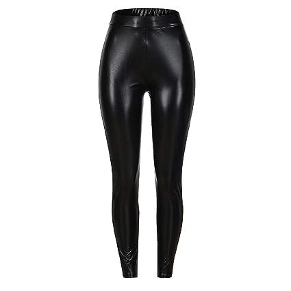 2fb42fedff171b Barlingrock Women Casual Solid High Waist Elasticity Slim Leggings Pants,Faux  Leather Pants PU Sexy