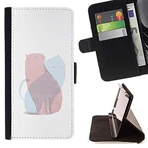 Momo Phone Case / Flip Funda de Cuero Case Cover - Arte Rosa Azul Pintura Amor - Samsung ALPHA G850